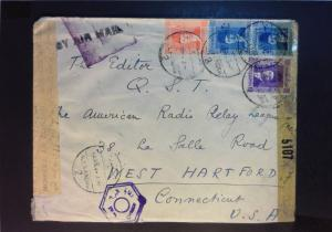 Egypt WWII Double Censored Cover to USA - Z923