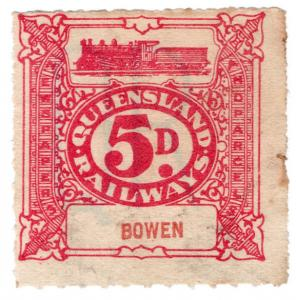 (I.B) Australia - Queensland Railways : Parcel 5d (Bowen) printed watermark