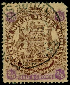 RHODESIA SG48, 2s 6d brown & purple/yellow, USED, CDS. Cat £65.