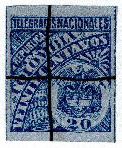 (I.B) Colombia Telegraphs : 20c Blue on Blue (1896)