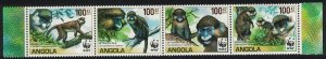 Angola WWF Monkeys Guenons strip of 4 SG#1815-1818 SALE BELOW FACE VALUE