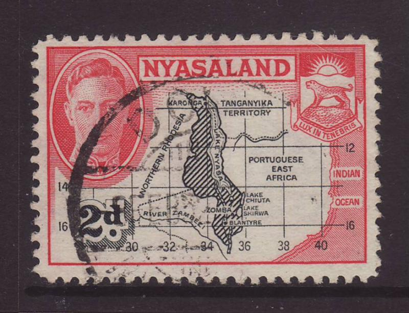 1945 Nyasaland 2d Map Fine.Used