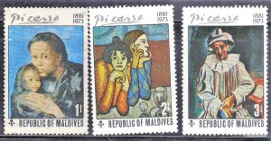 MALDIVES SC# 489-91 **UNUSED**  1974  ART  SEE SCAN
