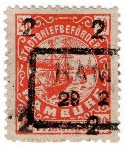 (I.B) Germany Local Post : Hamburg 2pf on 20pf OP (Stadtbrief)