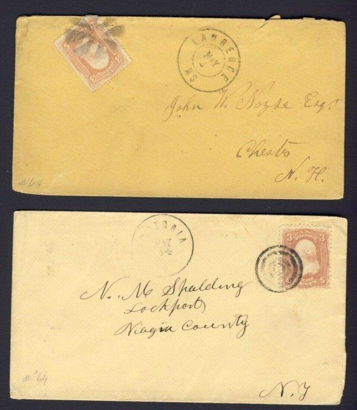 2x USA stamped covers 3c Washington Civil War Era PM LAWRENCE MS & ???TARIA