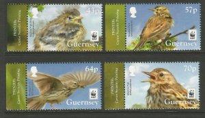 Guernsey 2017 MNH Meadow Pipit WWF Endangered Species 4v Set Birds Stamps