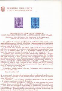 Italy 1962 Malaria-Mosquito - WHO -   Bollettini Illustrativi #B88 RARE