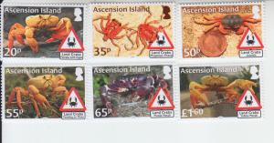 2018 Ascension Land Crabs (6) (Scott 1193-98) mnh