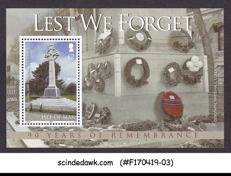 ISLE OF MAN - 2008 90 YEARS OF REMEMBRANCE CENOTAPH MIN/SHT MNH