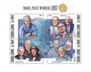 SIERRA LEONE - 2017 - Nobel Prize Winners 2017 - Perf 4v Sheet - MNH