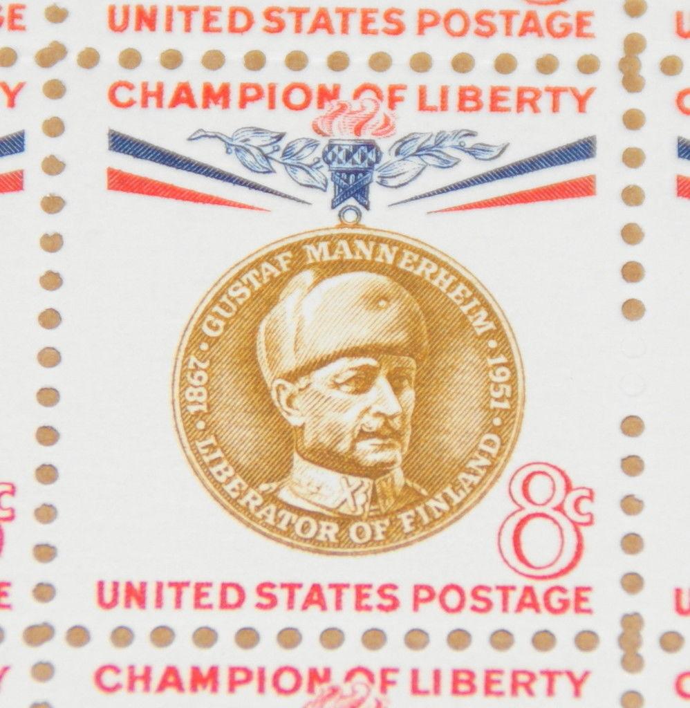 1960 Sheet 8 Cent Champion Of Liberty Baron Gustaf Mannerheim Sc