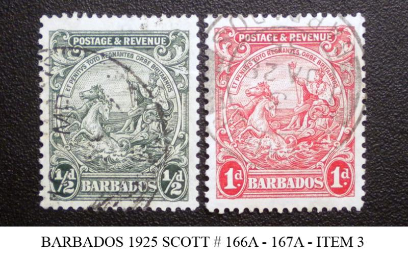 BARBADOS STAMP 1925. SCOTT # 166A - 167A. USED. ITEM 3