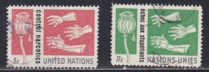 United Nations - New York # 131-132, Control of Narcotics, Used, 1/3 Cat.