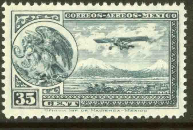 MEXICO C15, 35cts Early Air Mail Plane and coat of arms. UNUSED, H OG. F-VF.