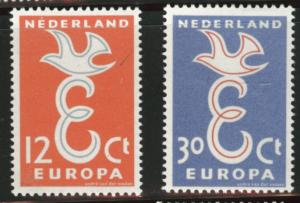 Netherlands Scott 375-376 MH* 1958  Europa set