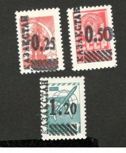 KAZAKHSTAN - MNH 3 STAMPS - OVERPRINT ON RUSSIAN STAMPS