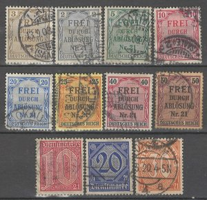COLLECTION LOT # 4292 GERMANY PRUSSIA OFFICIAL 11 STAMPS 1903+ CV+$20