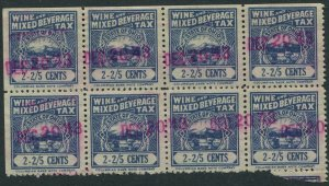 US STAMP REVENUE STATE OF OHIO WINE AND MIXED BEVERAGE TAX 2-2/5c Block of 8
