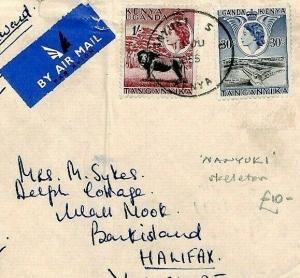 KUT Kenya Cover *NANYUKI* Skeleton Postmark 1955 Air Mail{samwells-covers} CS274