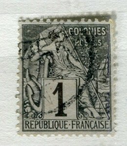 FRENCH COLONIES; Classic 1880s perf issue fine used 1c. value