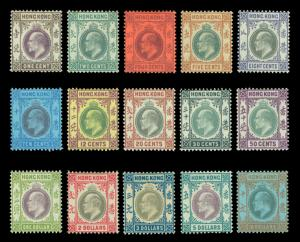 HONG KONG (china) 1903 KEVII - wmk crown CA - complete set  Scott# 71-85 mint MH