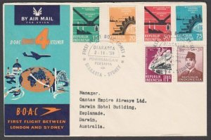 INDONESIA 1959 BOAC first flight cover to Darwin Australia..................N423