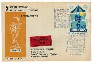Uruguay 1974 FDC Stamp Scott 882 UPU World Soccer Championship Tourism