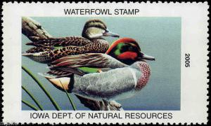 IOWA #34 2005 STATE DUCK STAMP GREEN WINGED TEAL by Neal Anderson