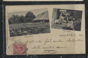 ZANZIBAR   (PP0908B)  1912  SULTAN   6C   ON PPC TO FRANCE
