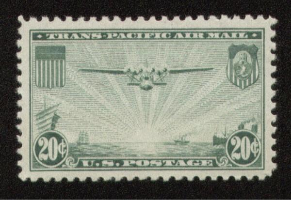 C21 - 20 cent Trans Pacific Airmail - XF-Superb Mint NH