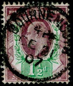 SG224 SPEC M9(2), 1½d slate-purple & bluish green (CHALKY), FU, CDS. Cat £18.