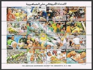Libya 1311 sheet,1312 ac,1313,MNH.Michel 1683-1702.American attack on Libya,1986