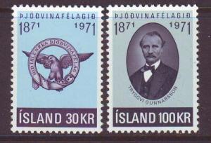 Iceland Sc 433-4 1971 Patriotic Society  stamp set mint NH