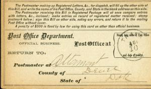US REGISTRY BILL ALTAMONT, DAKOTA TERRITORY 8/4/85 TO TRACY, IA 11/15 RARE
