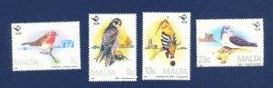 MALTA - Scott 690-693  - FVF MNH - BIRDS -  1987