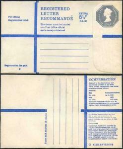 RP97 QEII 17 1/2p Grey + 5 1/2p Blue Registered Letter Format RF20b