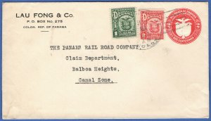 X264 - PANAMA uprated 2c Stationery Envelope + 1c + 2c COLON > CANAL ZONE