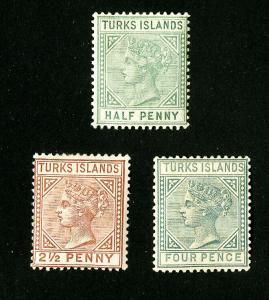 Turks Islands Stamps # 48-50 VF OG H Set of 3 Scott Value $85.00