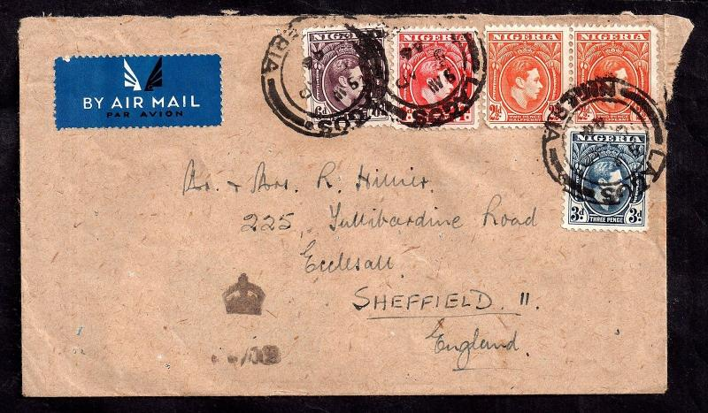Nigeria 1946 KGVI multistamp postal history airmail cover to UK WS5239