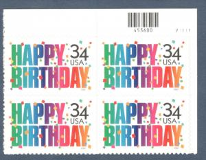 3558 Happy Birthday Plate Block Mint/nh (Free Shipping)