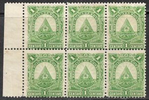 HONDURAS 1890 1c ARMS Issue BLOCK OF 6 Sc 40 MNG