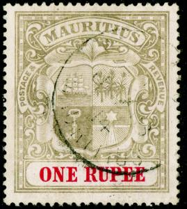 MAURITIUS SG175, 1r grey-black & carmine, FINE USED, CDS. Cat £60.