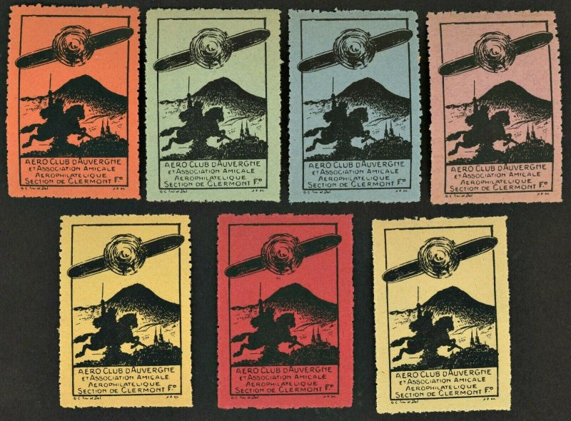 1910s -20s France Aero Club D'Auvergne Aviation Poster Stamp ( LOT OF 7) MNH