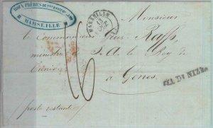 81948 - FRANCE - Postal History - PREPHILATELIC COVER : MARSEILLE to ITALY  1849