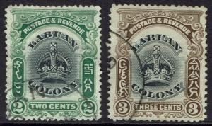 LABUAN 1902 CROWN 2C AND 3C PERF 14.5 - 15 USED