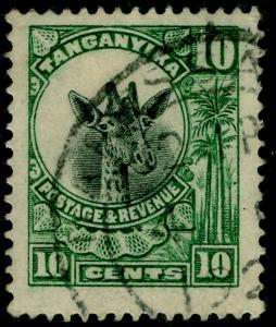 TANGANYIKA SG75, 10c green, FINE used.