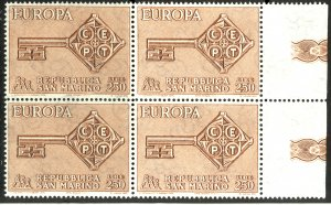 SAN MARINO 1968 EUROPA Issue BLOCK OF 4 Sc 687 MNH