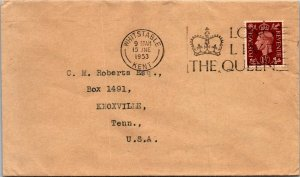 Whitstable UK > Knoxville TN USA 1953 Long Live the Queen cancel cover