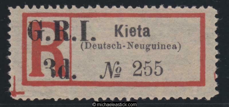 1915 New Guinea Registration Label surcharged GRI 3d for Kieta, SG 38 MH