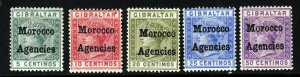 MOROCCO AGENCIES QV 1898-1900 First Setting Overprinted Group SG 1 to SG 6 MINT
